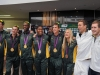 JOHANNESBURG, SOUTH AFRICA. 14 August 2012. Team South Africa  arrive at OR Tambo Airport. Olympic champions Cameron van der Burgh and Chad le Clos who returned last week,  also came to the airport to welcome those members who returned. Picture by WESSEL OOSTHUIZEN / SA Sports Picture Agency